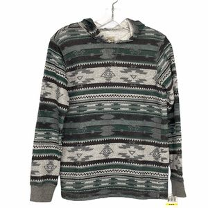 NEW Lucky Brand Aztec Print Hoodie Top Size M